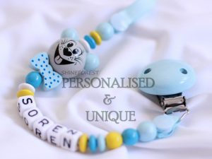 Pacifier Chain 3D Baby Blue Mouse