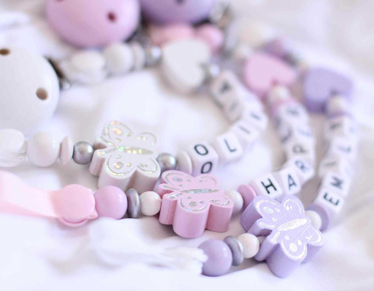 personalised pacifier chain girls